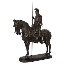 "French Antique Bronze Sculpture ""Louis D'Orleans"" by Emmanuel Fremiet c. 1880"