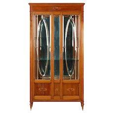 Antique Edwardian Fruitwood Display Cabinet Vitrine