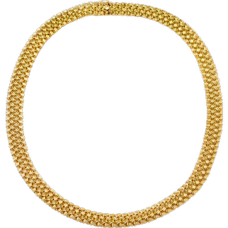 """Vintage 14k Yellow Gold Woven Necklace, 18 3/4"""" wearable length"""