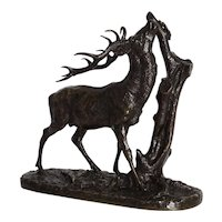 """""""Browsing Stag"""" (1843) Antique French Bronze Sculpture by Pierre Jules Mene"""