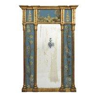 English George III Blue Eglomisé Antique Wall Mirror circa 1790