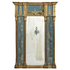 English George III Blue Eglomisé Antique Wall Mirror circa 1790