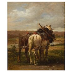 """""""The Plow Horses"""" Antique Barbizon Painting by Emile Jacque"""