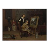 """Painting of """"The Art Critic"""" (1886) by John Henry Dolph (American, 1835-1903)"""