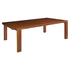 Benchmade Vintage Modern Cherry and Maple Dining Table, 11.75' long, circa 1980