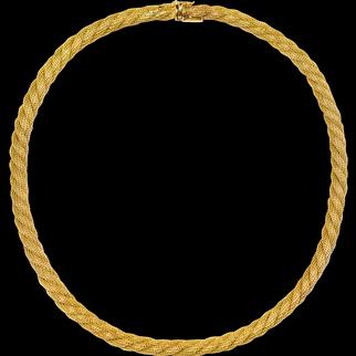 "Vintage Italian 14k Yellow Gold Mesh Choker Necklace, 15"" long"