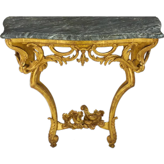 Rococo Style Carved Giltwood Antique Pier Console Table, 19th Century