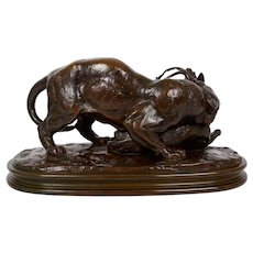 "Circa 1880s ""Tiger Attacking a Stag"" Bronze Sculpture after Antoine-Louis Barye"