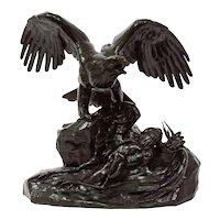 "Bronze Sculpture""Eagle Over a Heron"" after Antoine-Louis Barye"