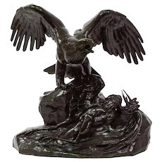 "Bronze Sculpture""Eagle Over a Heron"" after Antoine-Louis Barye"