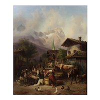 """""""An Alpine Village"""" Antique Landscape Painting by Joseph Heinrich Marr (German, 1807-1871)"""
