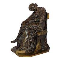 """Penelope Sleeping"" Antique Bronze Sculpture by Pierre Jules Cavelier & Barbedienne"