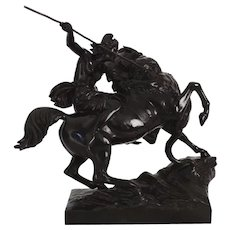 """Amazonian Fighting a Tiger"" German Antique Bronze Sculpture by August Kiss c. 1860"
