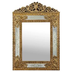 French Louis XVI Antique Gilt Bronze Wall Mirror by Alexandre Jeune c. 1880