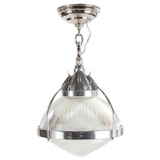 Vintage Industrial Chrome, Aluminum & Holophane Glass Pendant Lamp