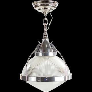 Vintage Industrial Chrome, Aluminum & Holophane Glass Pendant Lamp