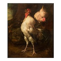 """Antique Italian Painting of Rooster """"Heralding the Dawn"""" by Antonio Franchini"""