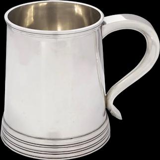 English George III Style Sterling Silver Antique Tankard Mug circa 1907-8