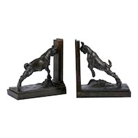 "Art Deco Pair of ""Charging Goat"" Bookend Sculptures by Joao da Silva"