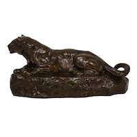 """Bronze Sculpture """"Panther of Tunisia"""" after Antoine-Louis Barye, Barbedienne c. 1880"""