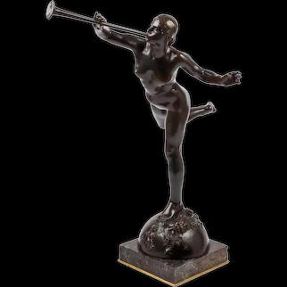 """French Antique Bronze """"La Renommée"""" (Fame) by Alexandre Falguiere & Susse"""