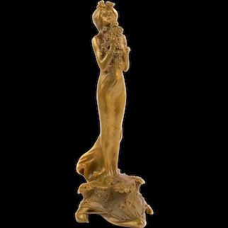"""Art Nouveau French Bronze Sculpture """"Printemps"""" by Charles Korschann"""