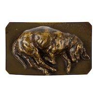 """19th Century Bronze Sculpture """"Sleeping Basset Hound"""" by Jean-Baptiste-Louis Guy"""