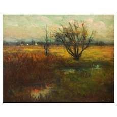 """Pennsylvania Impressionist Landscape Painting """"Evening Pasture"""" by Frederick Wagner"""