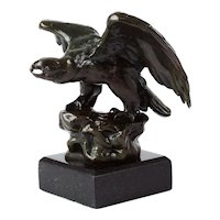 """French Antique Bronze Sculpture """"Eagle"""" after Antoine-Louis Barye, Barbedienne foundry"""