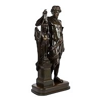 """Bronze Sculpture """"Oedipus and Sphinx"""" after Pierre Emile Hebert, French circa 1870"""