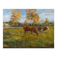 American Barbizon Antique Landscape Painting of Cows by Andrew Curtin Davis