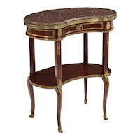 French Louis XVI Style Mahogany and Bronze Kidney-Form Accent Table