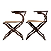 Vintage Pair of Thonet-Style Mid Century Modern Bentwood Folding Chairs c. 1960s