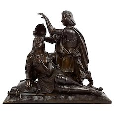 "French Antique Bronze Sculpture ""Charles VII Ennobling Joan d'Arc"" circa 1850s"