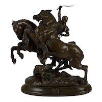 """Rare Antique French Bronze Sculpture """"Cocher Romain"""" by Emmanuel Fremiet"""