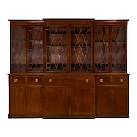 Large English George III Style Antique Mahogany Library Bookcase Breakfront
