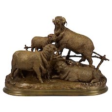 French Antique Bronze Sculpture of Group of Merino Sheep by Jules Moigniez