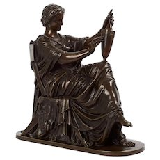 """French Antique Bronze Sculpture of """"Etruscan Art"""" by Victor Simyan circa 1870"""