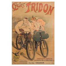 """Antique French Lithograph Poster """"Cycles Tridon"""" by Maurice Lourdey circa 1900"""