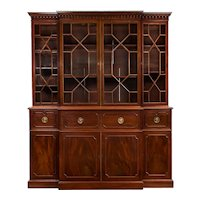 English Antique George III Style Mahogany Bookcase Breakfront Cabinet, 19th Century