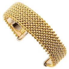 "Modern Woven 14 Karat Yellow and White Gold Sprung Cuff Bracelet, 7 1/8"" length"