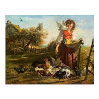 "British School (19th Century) Antique Landscape Painting of ""Feeding Chickens"""