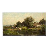 Bucolic Landscape Painting of Cattle by Carl Weber (American, 1855-1929)