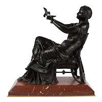 19th Century French Antique Bronze Sculpture of Seated Sappho by Francois Mage