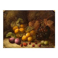 Antique English Still-Life Painting of Fruit by Oliver Clare (British, 1853-1927)