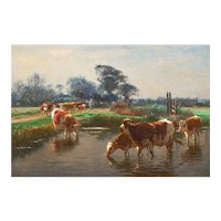 Barbizon Painting of Cows Drinking by Léon Barillot (French, 1844-1929)