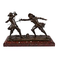 """French Antique Bronze Sculpture """"Dueling Cavaliers"""" by Edouard Drouot"""