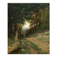 """American Landscape Painting """"Path in the White Mountains"""" (1876) by Christopher Shearer"""