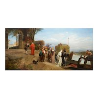 """French Antique Landscape Painting """"The Departure"""" (1874) by Edouard Girardet"""