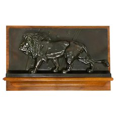 """French Antique Bronze Sculpture Bas-Relief """"Lion of the Zodiac"""" by Antoine-Louis Barye"""